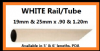Wardrobe Hang WHITE Rail/Tube. 19mm & 25mm x 1.20m. 1-10pack